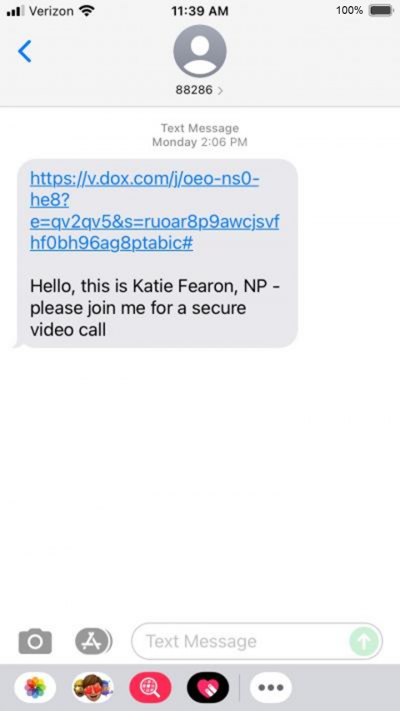Screenshot of mobile phone chat with a link to v.dox.com and a message saying Hello, this is Katie Fearon, NP. Please join me for a secure video call.